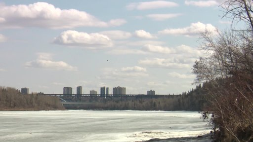 A STARS Air Ambulance helicopter searching the North Saskatchewan River in Edmonton, Alta. on Tuesday, April 6, 2021.