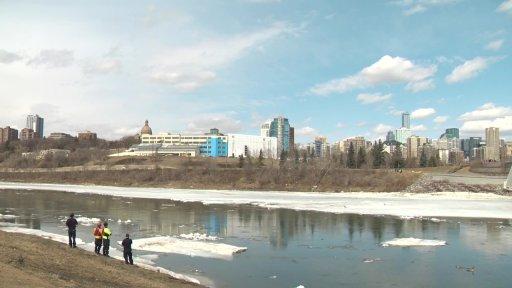 The thawing North Saskatchewan River in Edmonton, Alta. on Tuesday, April 6, 2021.