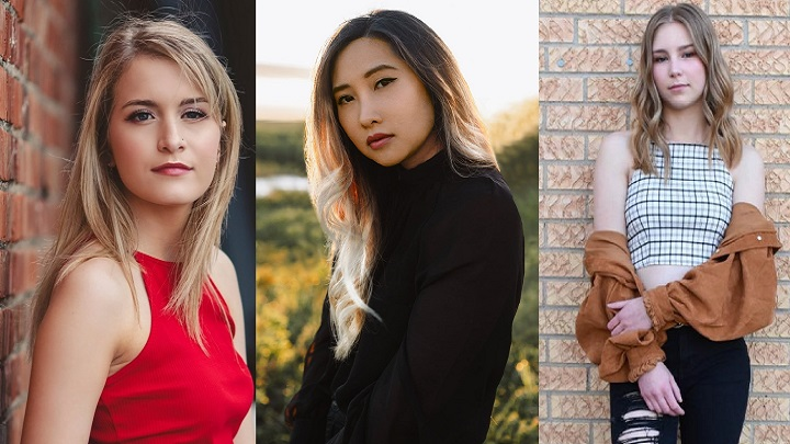 Jordyn Pollard (left), Andrea An (middle), and Justine Sletten (right) are all nominated for awards at the Saskatchewan Country Music Awards taking place Saturday.