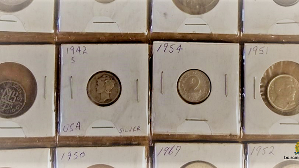 RCMP say the vintage coins were seized, along with other suspected stolen goods, during a high-risk traffic stop near Salmon Arm in February.