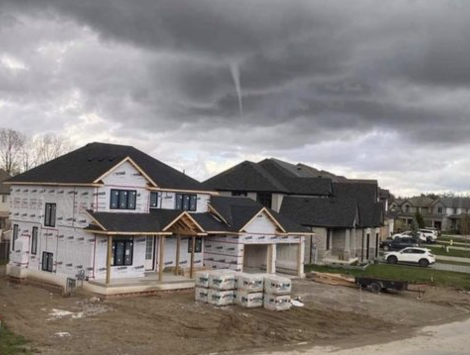 Photo of a funnel cloud spotted near London, Ont. on April 12, 2021.