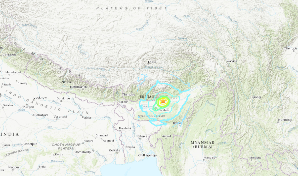 Location of a 6.0 magnitude earthquake in northeastern India on April 27, 2021.