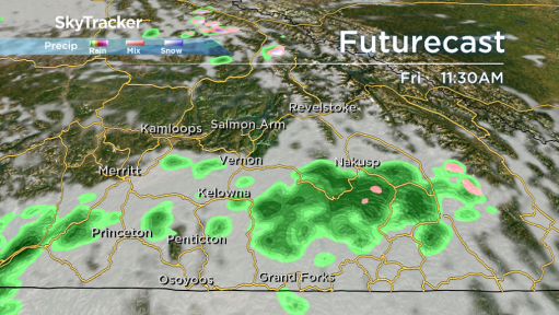 Spotty showers are possible at times during the final day of April.