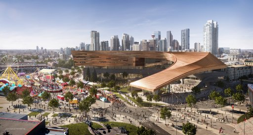 An artist's rendition of the exterior of the expanded Calgary BMO Centre with the skyline and midway.