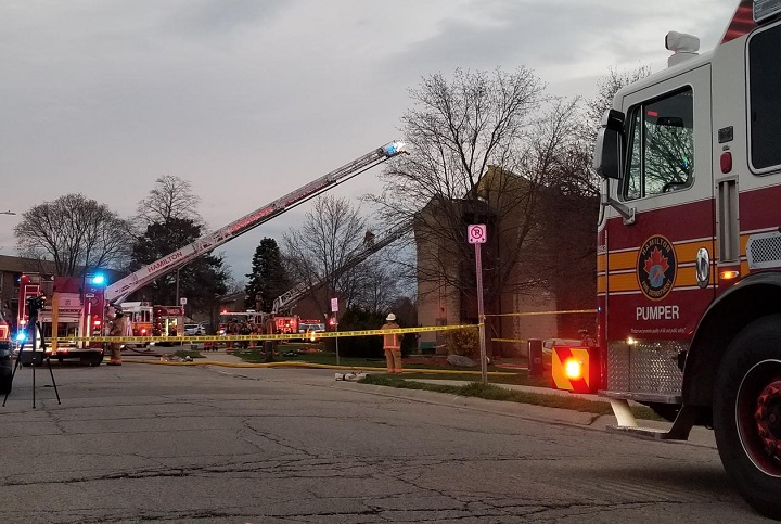 The fire at the Stoneybrook Manor building happened just before 7 p.m. on Wednesday.