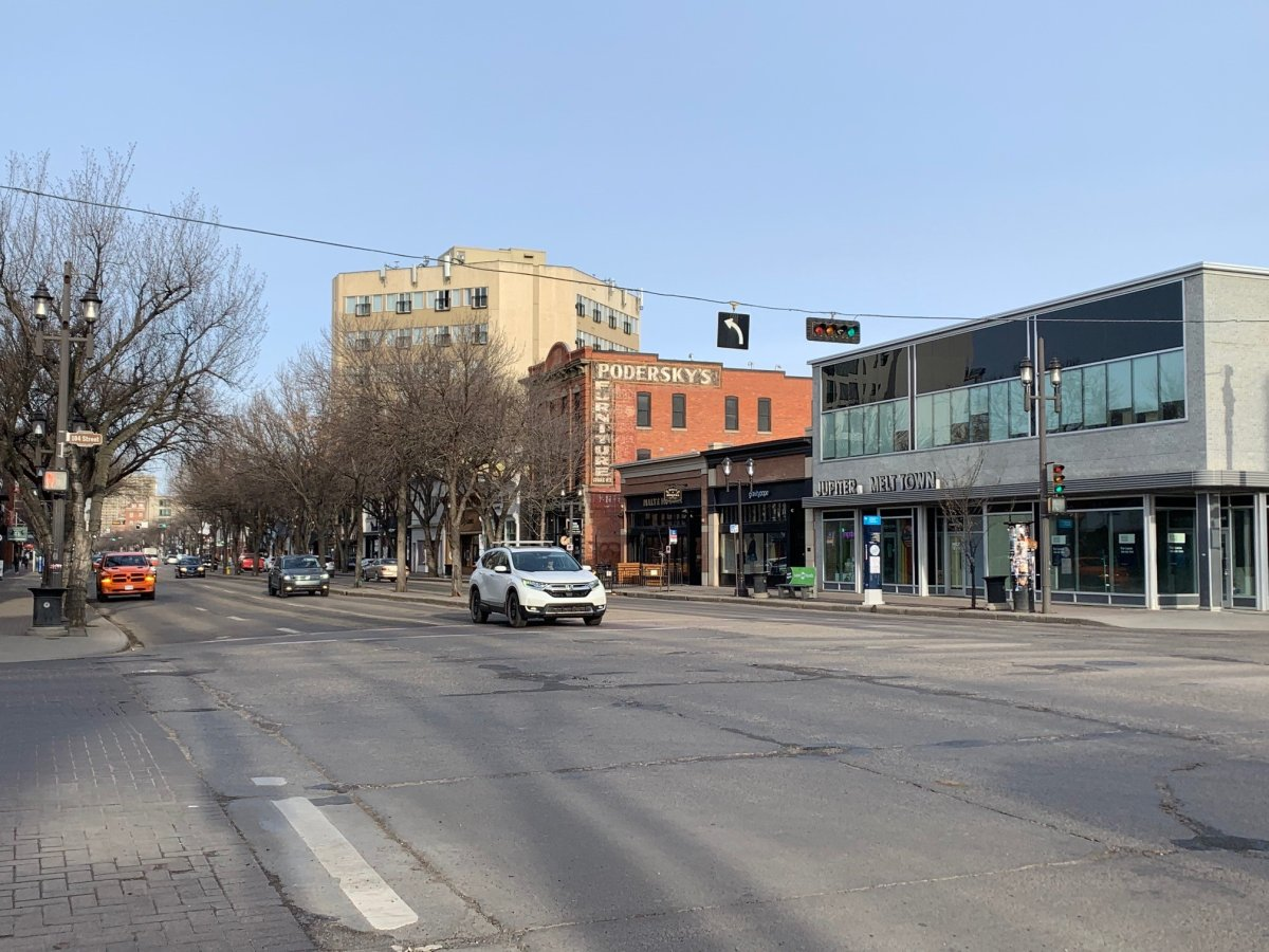Whyte Avenue on April 14, 2021.