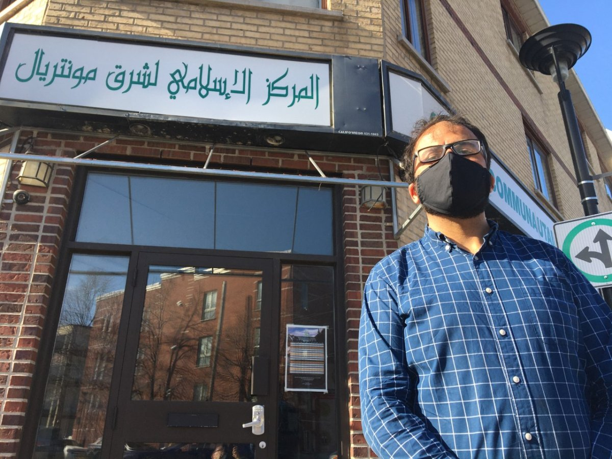 Yusuf Faqiri of the National Council of Canadian Muslims stands in front of Centre Communautaire Islamique Assahaba