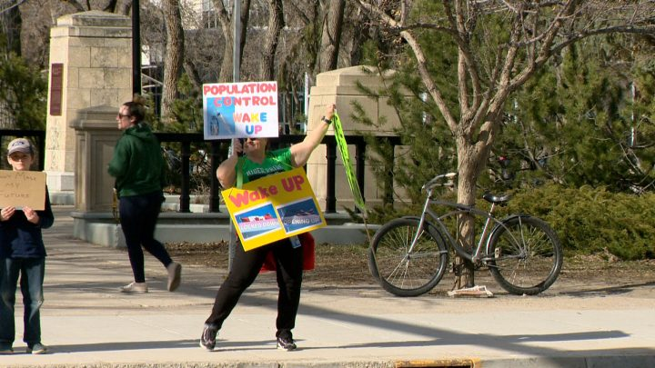A protestor rallies against public health order restrictions on April 25.