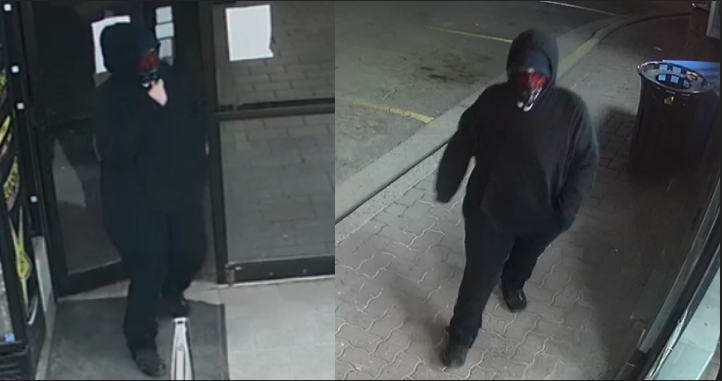 Surveillance images released by London police in connection with the April 15, 2021 robbery.