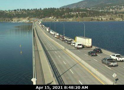 View from webcam on WR Bennett Bridge in Kelowna on April 15.