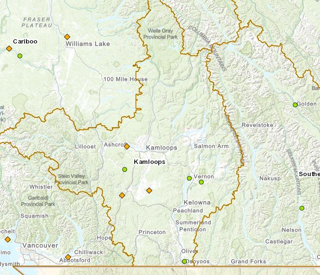 Current wildfires in the Kamloops Fire Centre, April 16.