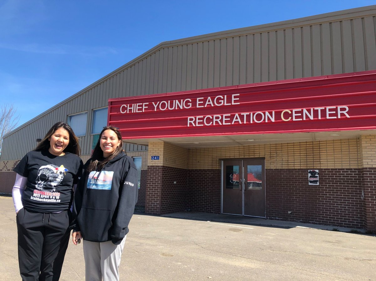 Malian Levi (left) and Jaime Carpenter are two organizing committee members for Elsipogtog's Hockeyville bid. The community was named the winner and will receive $250,000 in arena upgrades.