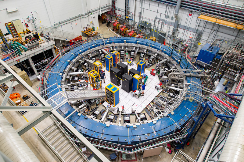 The Muon g-2 ring sits in its detector hall at Fermilab in Batavia, Ill.