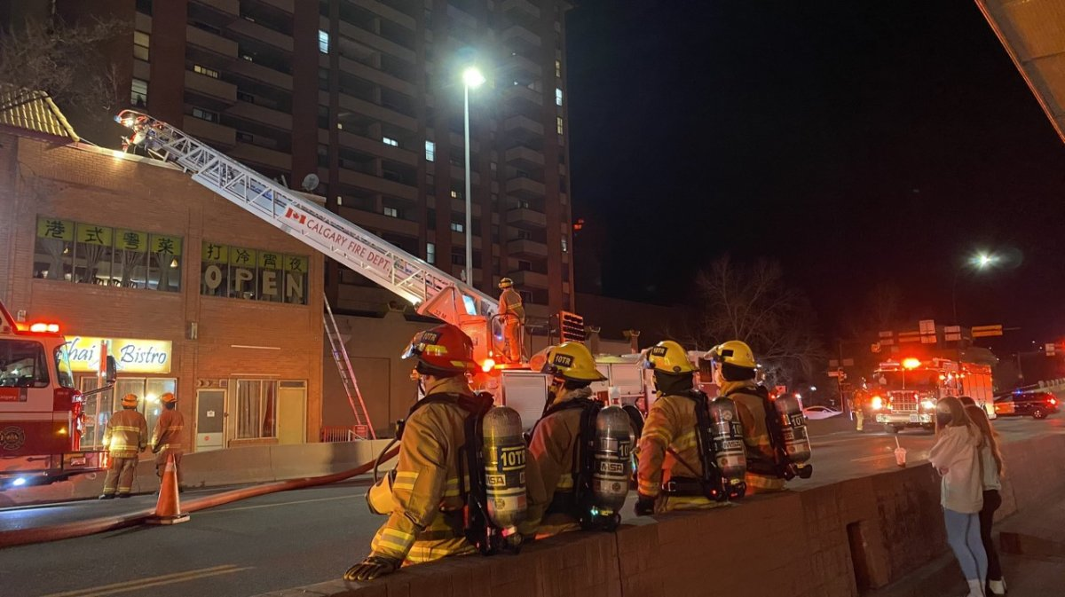 The Calgary Fire Department responded to a blaze in the 200 block of Centre Street S. on Saturday, April 10, 2021.