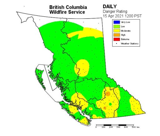 The wildfire danger rating across B.C. on April 16.