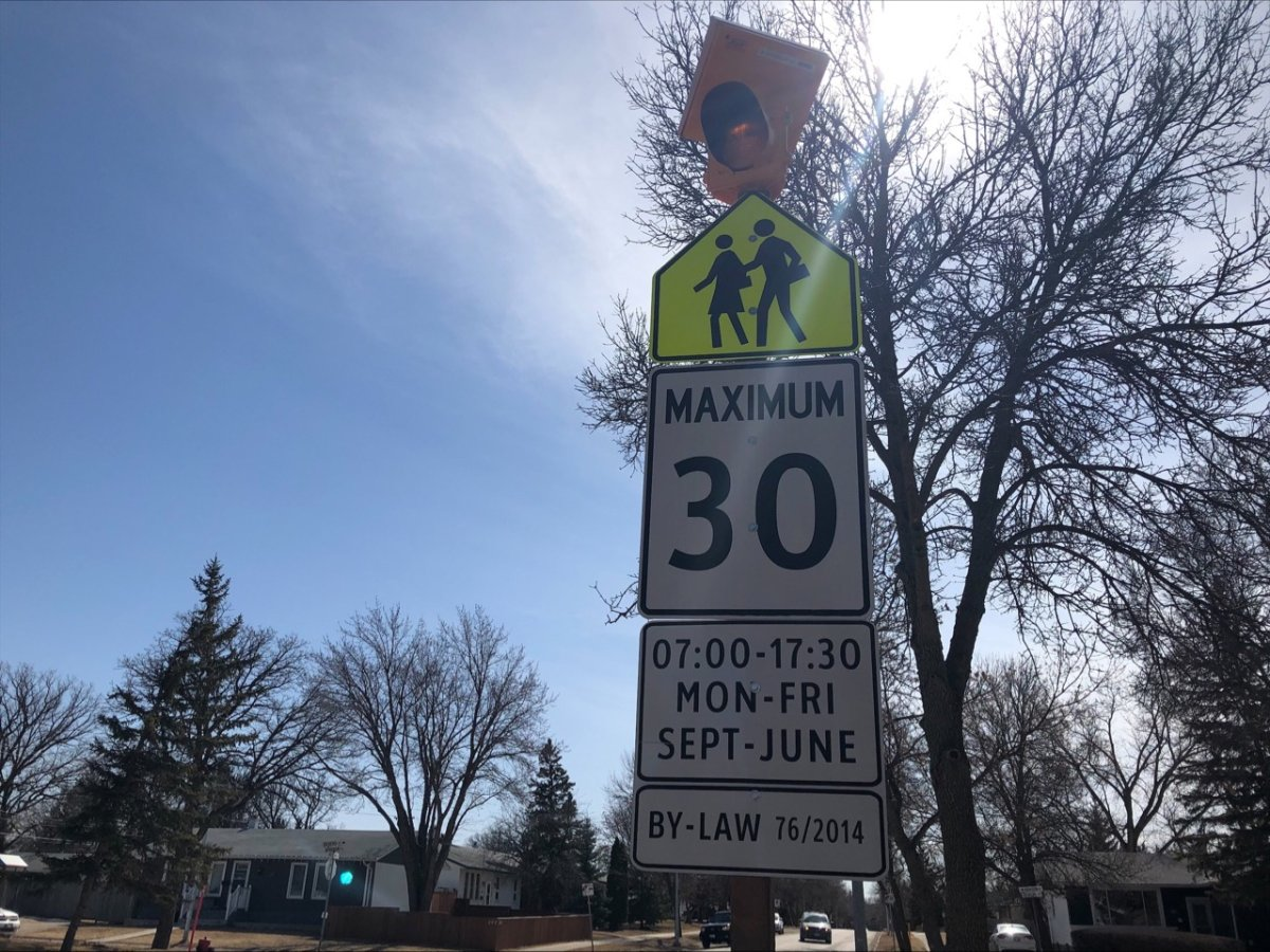 First set of gifted flashing school zone lights installed in Winnipeg.