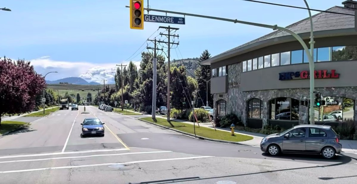 A pedestrian was struck while crossing Kane Road at Glenmore Road in Kelowna on Tuesday.