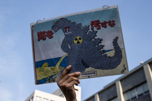 A man holds a placard during a demonstration outside of the Prime Minister's official residence on April 12, 2021, in Tokyo, Japan.