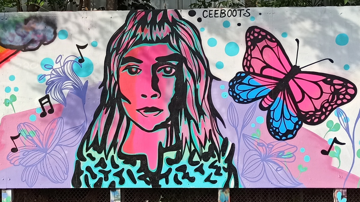 A mural made prior to a candlelight vigil for Holly Ellsworth-Clark on Sept 26, 2020 in Woodlands Park, Hamilton, Ontario. The 27-year-old was found deceased in Sept. 2020 after nine months of searching for the missing musician.