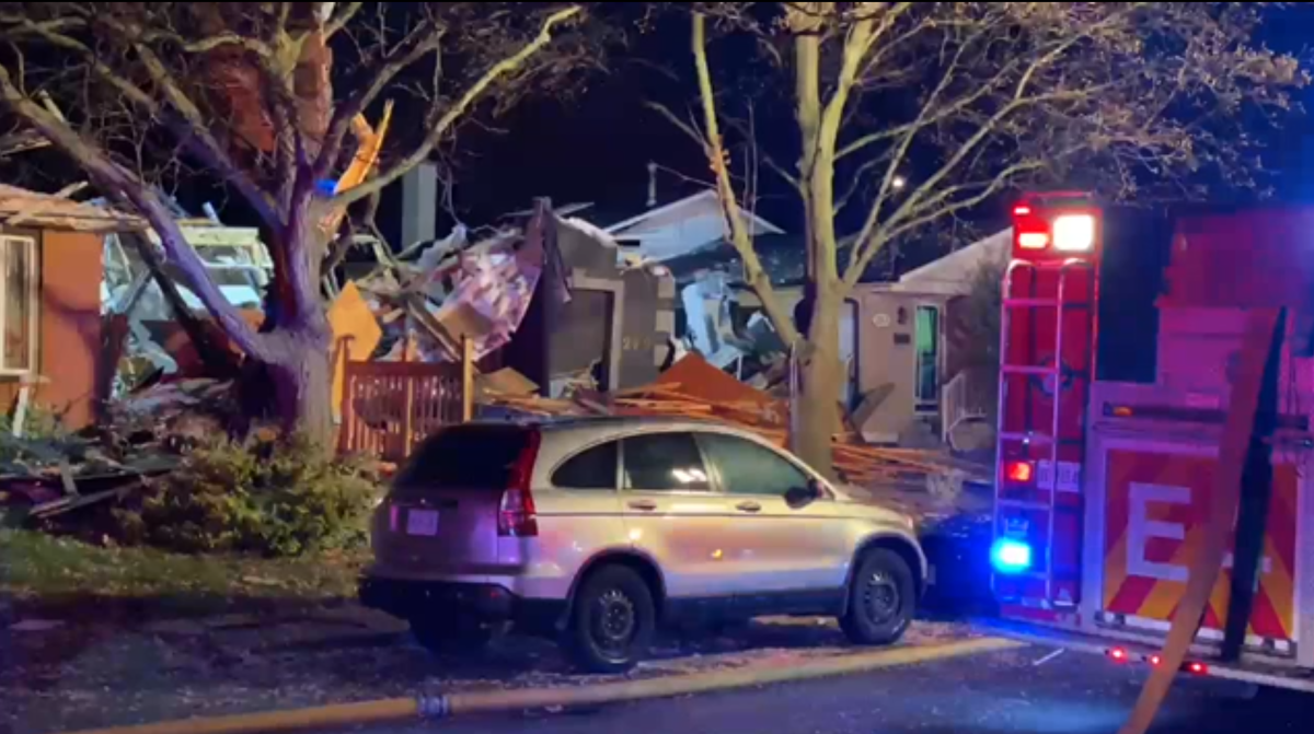 Emergency crews were called to the Bonaventure Drive home at around 10:30 p.m. on Friday. Andrew Collins / Global News.