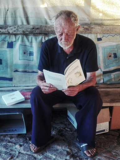 Mauro Morandi is shown in his hut on the Isle of Budelli in Italy.