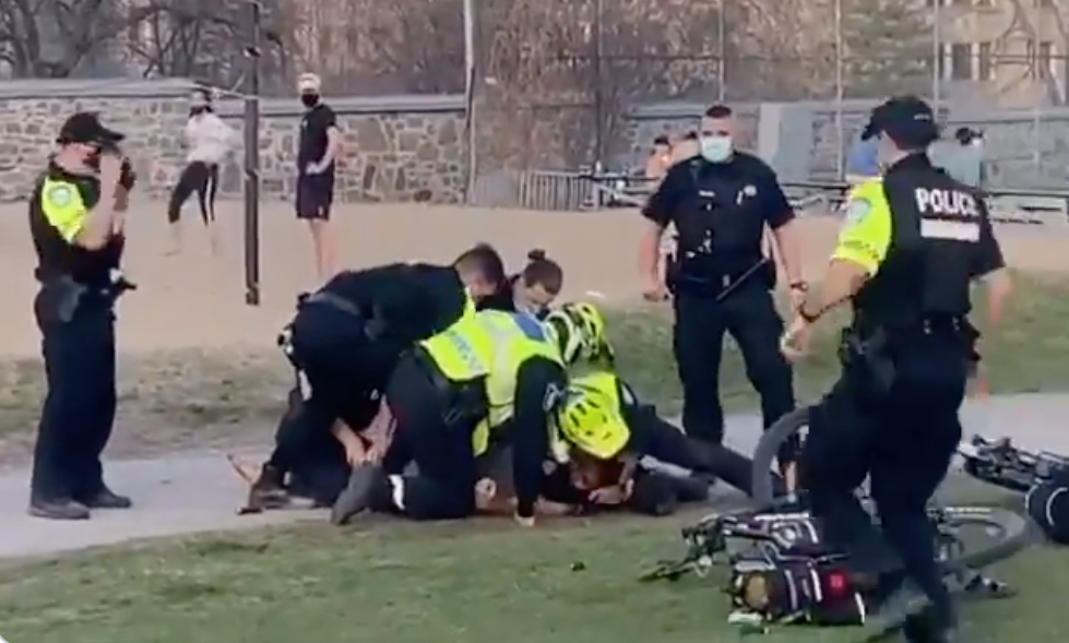 A video posted on social media shows an SPVM officer apparently holding a man in a chokehold and pummeling him in the head. Monday April 12, 2021.