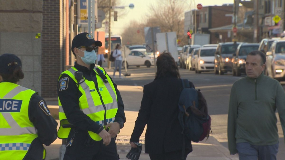 Montreal Police hand out pamphlets and issue warnings targeting reckless behaviour.
