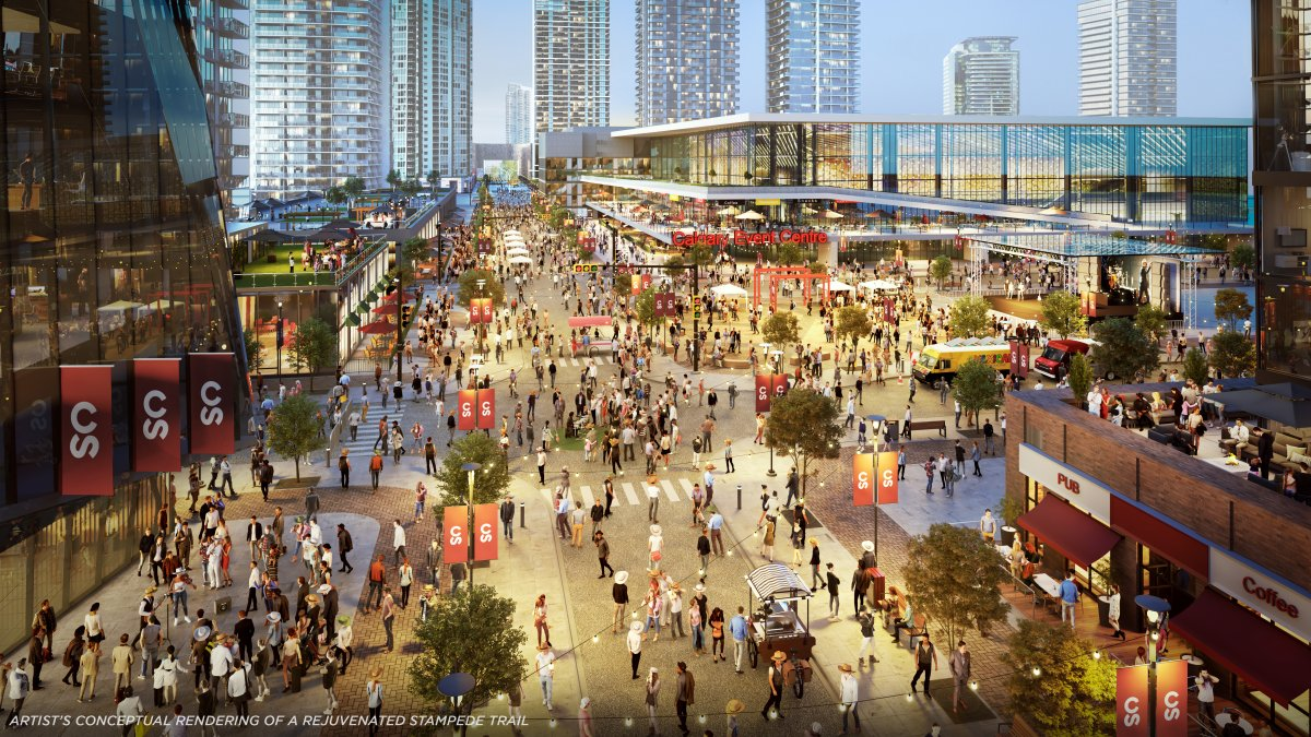 An artist's rendering of Stampede Trail and the Event Centre in Calgary.
