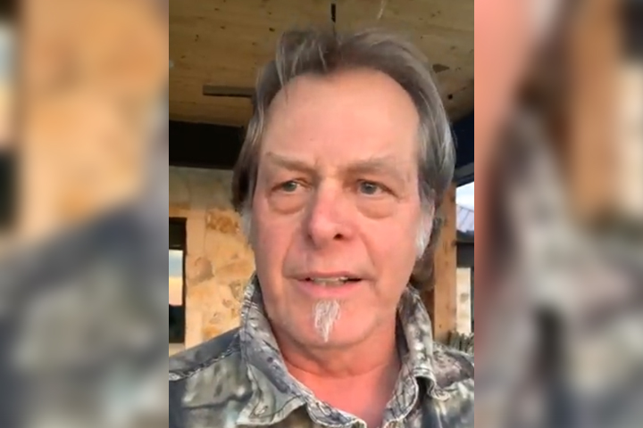 Ted Nugent is shown at his Michigan ranch in this image from a Facebook Live video on Apr. 19, 2021.