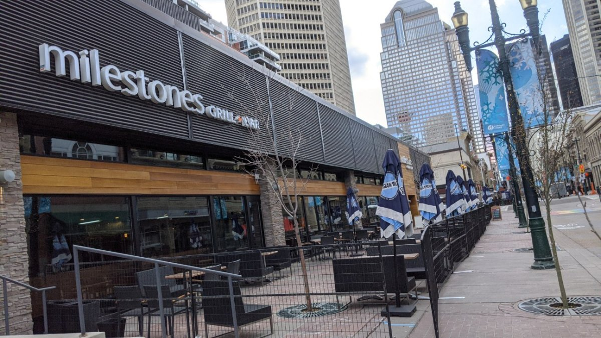A temporary patio along Calgary's Stephen Avenue, pictured on April 12, 2021.