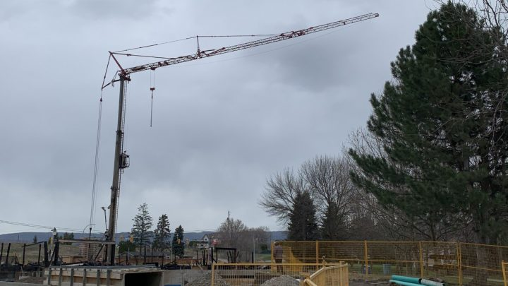 Numerous homes in Kelowna are still evacuated following a condo fire on Tuesday morning because of this construction crane.