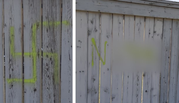 Calgary police are investigating swastikas and a racial slur that were spray-painted in a park.