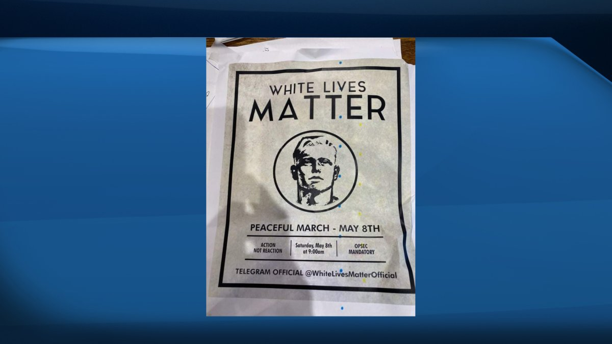 """Waterloo Region Police say they are investigating after posters promoting a """"White Lives Matter"""" march were found scattered across New Hamburg on Wednesday."""