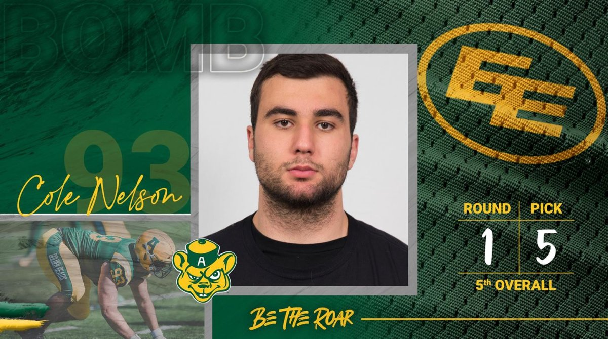 Cole Nelson, a University of Alberta Golden Bears football player, drafted by EE Football, May 4, 2021.