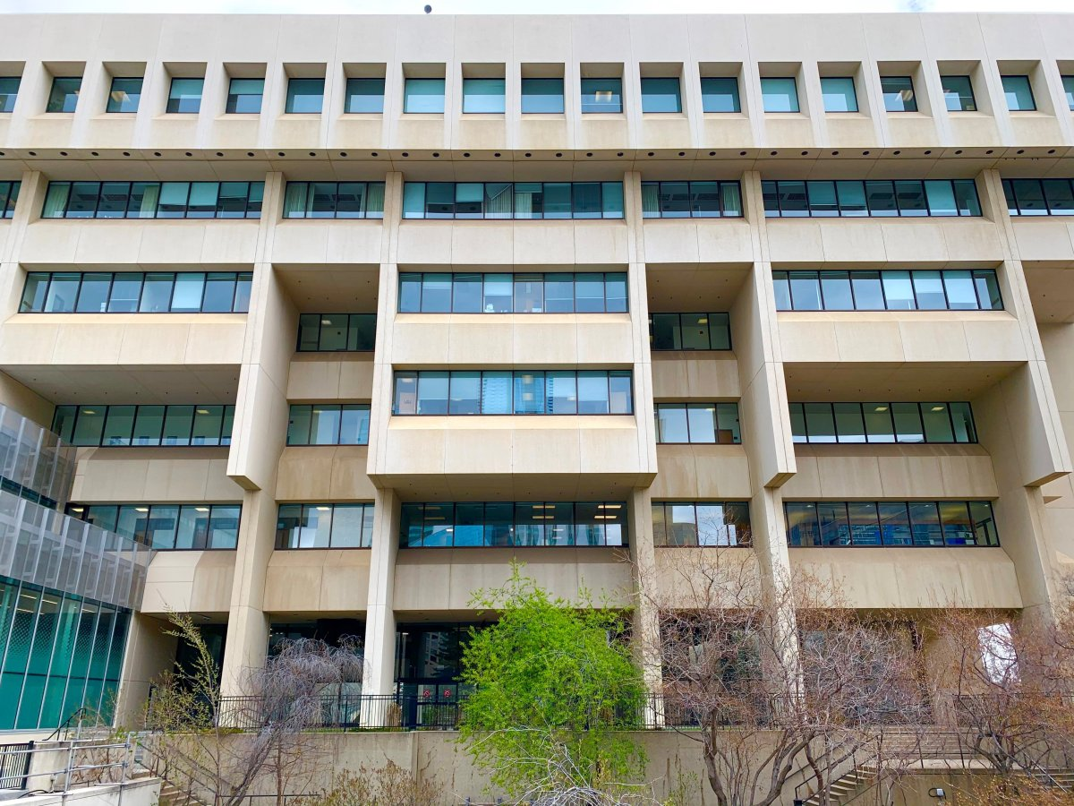 Law courts Edmonton, Alta., on May 4, 2021, where hearings of the Provincial Court of Alberta, the Alberta Court of Queen's Bench, and the Court of Appeal of Alberta are conducted.