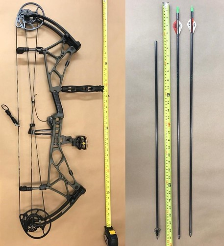 Compound bow and arrows recovered from the incident scene after a 46-year-old man was shot and killed by RCMP outside Red Deer hospital on May 24, 2021.