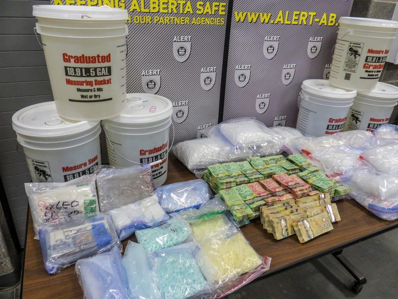 ALERT said the amount of meth and fentanyl pills seized was among the biggest busts it has seen in Calgary.