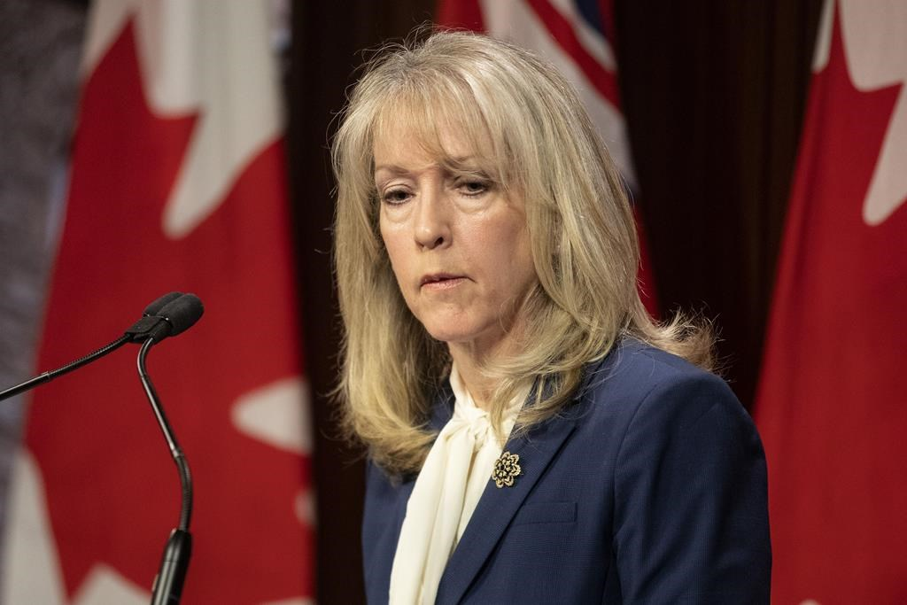 Merrilee Fullerton, Ontario's minister of long-term care, speaks during a media availability at the Queen's Park in Toronto on Monday May 3, 2021. THE CANADIAN PRESS/Chris Young.