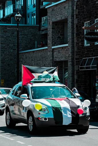 About 500 people and 200 cars showed up at a pro-Palestinian rally.