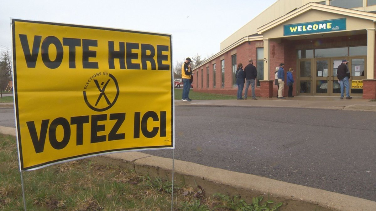 A short lineup of people gathered prior to advance polling opening in Moncton at 10 a.m. Saturday morning.
