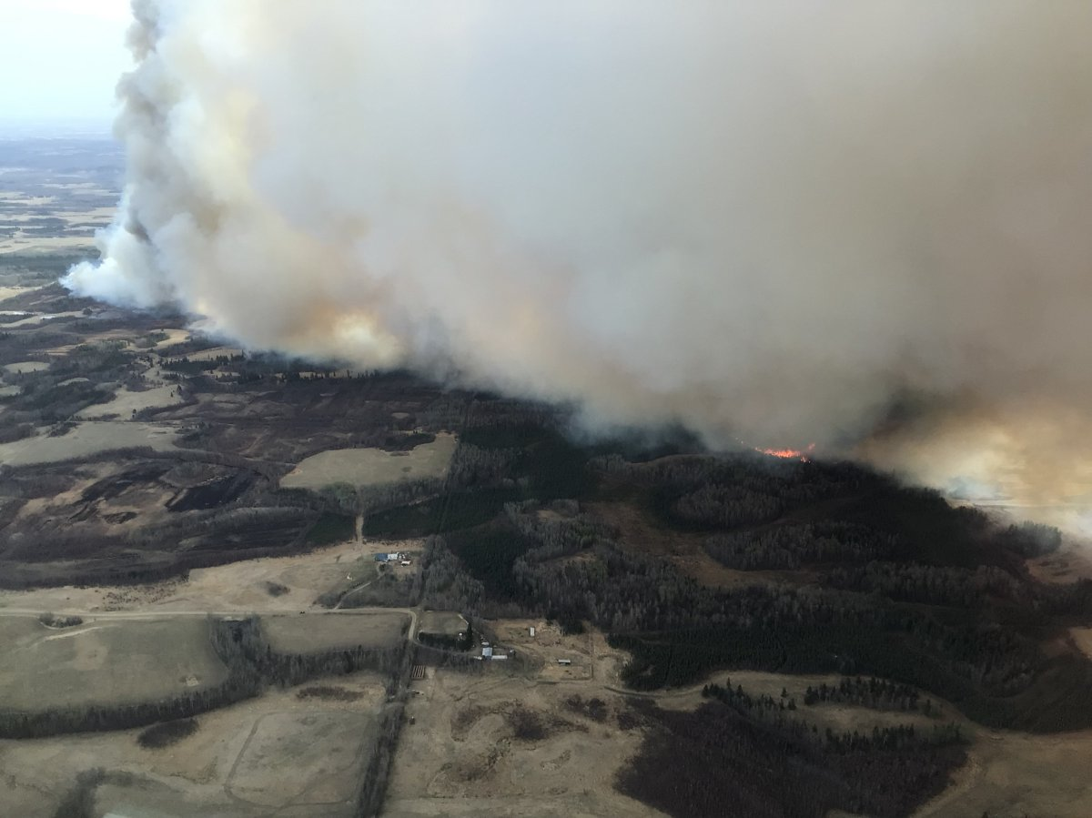 A wildfire burning near Tomahawk in Parkland County, west of Edmonton, on Thursday, May 6, 2021.