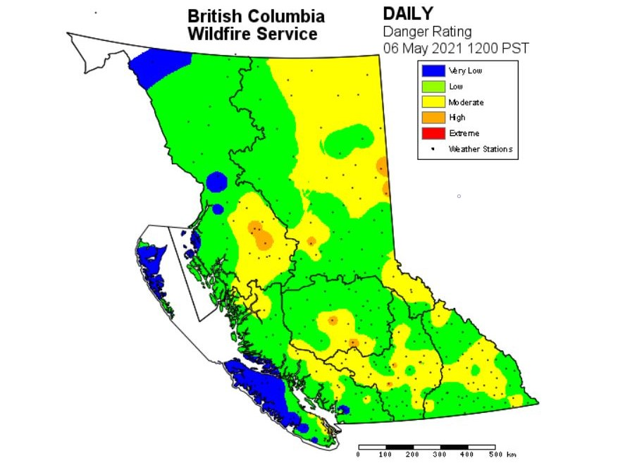 A map from Friday, May 7, 2021, showing fire danger ratings throughout the province.