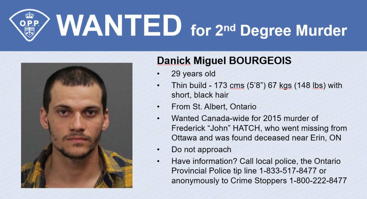 """Ontario Provincial Police have released this information and description of Danick Miguel Bourgeois, who is charged with second-degree murder in the death of Frederick """"John"""" Hatch five years ago."""