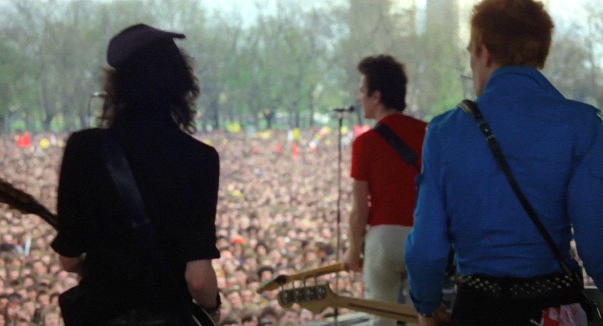 The Clash (from left: Mick Jones, Joe Strummer, Paul Simonon) at the Rock Against Racism concert, Victoria Park, London  on April 30, 1978.