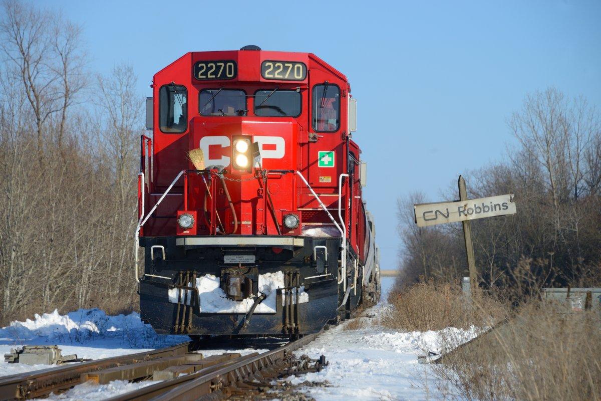 A CP Rail train near Welland Ont., February 21, 2021.