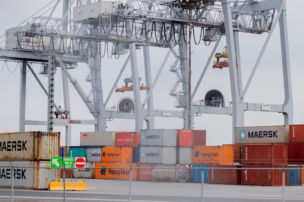 Shipping containers are shown at the Port of Montreal, Sunday, April 25, 2021. A general strike at the port is set to begin on Monday.