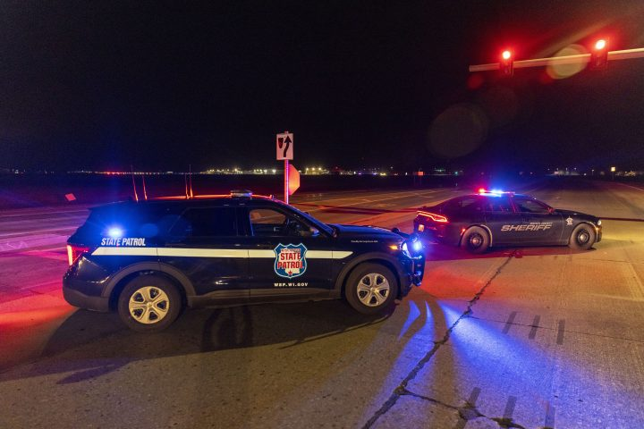 Law enforcement blocks the road in front of the Oneida Bingo and Casino in Green Bay, Wis on Saturday May 1, 2021 after reports of an active shooter. A spokesperson for a Wisconsin casino says an undetermined number of people have been shot at the casino. The Oneida Casino in Green Bay tweeted Saturday there was an active shooter at the casino.
