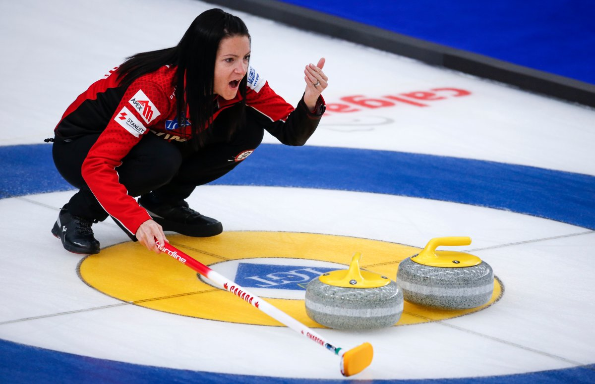 Team Canada skip Kerri Einarson directs her teammates against South Korea at the Women's World Curling Championship in Calgary, Alta., Monday, May 3, 2021.