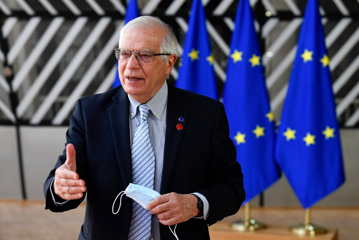European Union foreign policy chief Josep Borrell makes a statement as he arrives for a meeting of EU defense ministers at the European Council building in Brussels, Thursday, May 6, 2021.