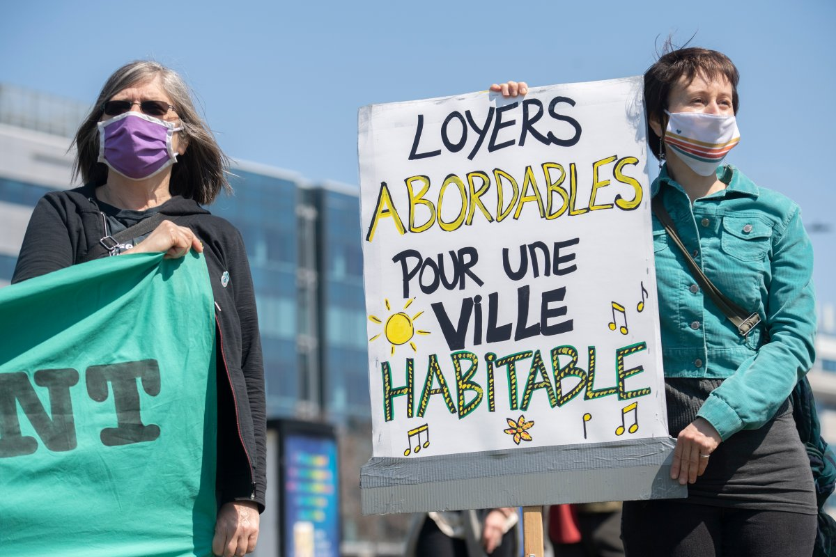 People take part in a demonstration calling for more social and affordable housing in Montreal, Saturday, April 24, 2021.